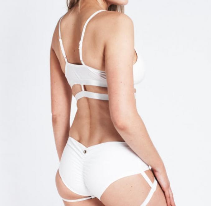 Low Waisted Garter Shorts Blanco LUNA POLE WEAR