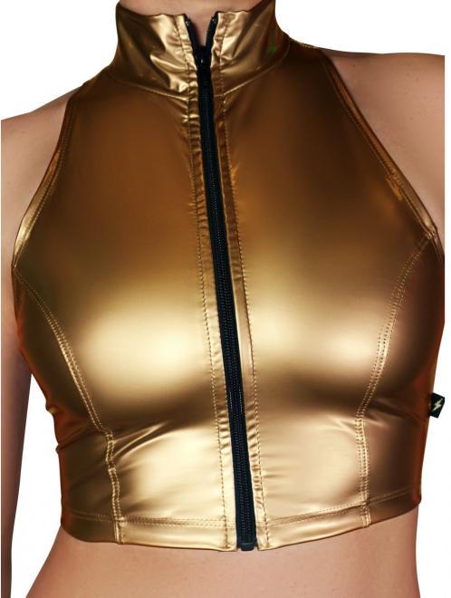 Metal Gold Liquid Zip-Up Vest- Cleo The Hurricane